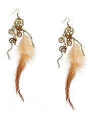 Steampunk Earrings With Feathers