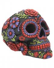 Sugar Skull mit Blüten Ornament
