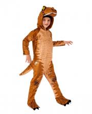 T-Rex Children Costume With Hood Brown