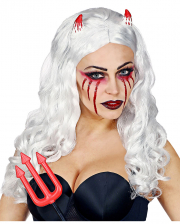Devil Bride Wig White With Horns