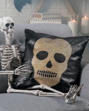 Skull Flip Sequined Cushion Black Gold