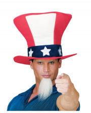Uncle Sam Zylinderhut mit Bart