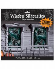 Eerie Haunted House Window Decoration 2 Pcs.