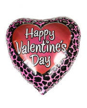 Valentin Herz-Folienballon mit Leoparden Muster