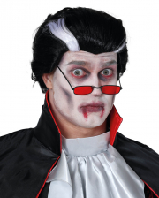 Vampir Perücke schwarz-weiß