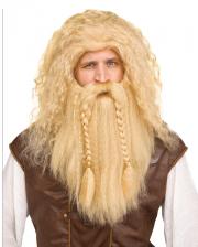 Vikinger Perücke mit Bart Blond