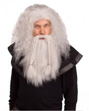 Vikinger Perücke mit Bart Grau