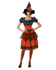 Vintage Polka Dot Witch Costume With Lace Orange