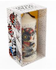 Vintage Tattoo Motif Pillar Candle 14cm