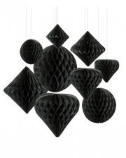 Honeycomb Ball Hanging Decoration Set 12 Pc. Black