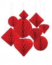 Honeycomb Ball Hanging Decoration Set 12 Pcs Red