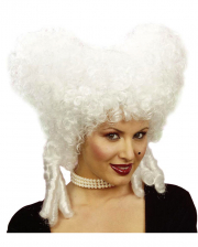 White Baroque Wig With Stopper Curls