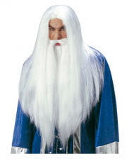 Weißer Zauberer Perücke und Bart