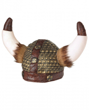 Viking Helmet Faxe With Fake Fur In Leather Optics