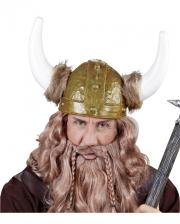 Goldfarbener Wikinger Helm mit Pelzbesatz