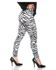 Zebra Kostüm Leggings Weiß