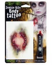 Zombie Biss Tattoo mit Filmblut