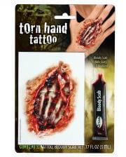 Zombie Hand Tattoo mit Filmblut