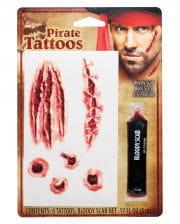 Zombie Piraten Tattoo Wunden