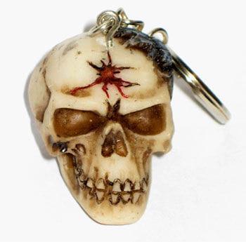 Schlüsselanhänger Totenkopf mit Spinne