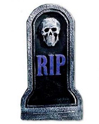Kleiner Grabstein mit Skulll lila RIP 40cm