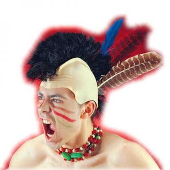 Irokesen Perücke Mohawk mit Federn