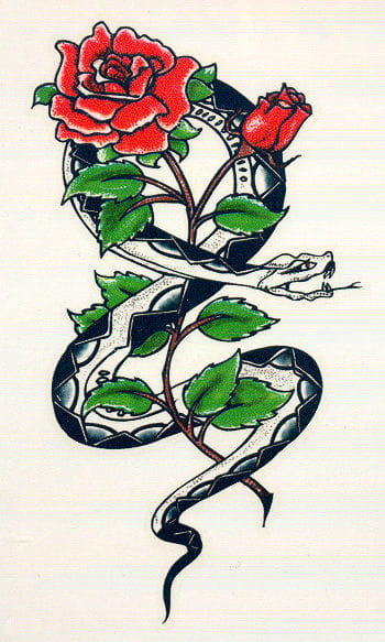 Tattoo Snake and Rose