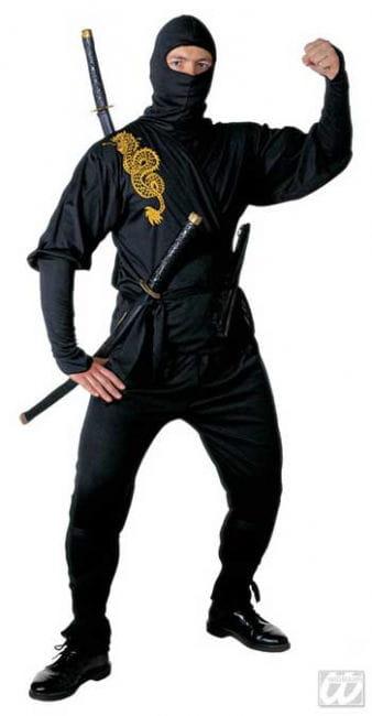 Black Ninja Costume Golden Dragon Gr. S