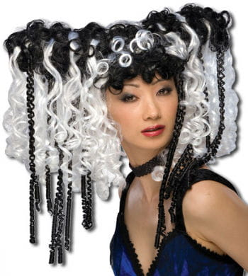 Gothic Curly Wig Black / White