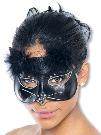 Glamour Cat Mask Leather Look Black