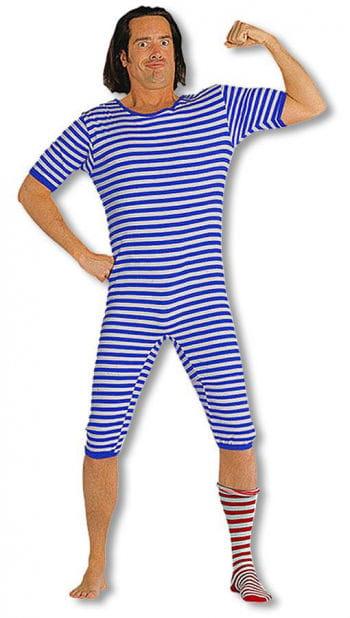 Striped Bathing Suit Blue White XXL