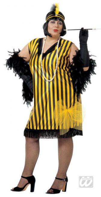 Charleston Kleid schwarz gelb XL