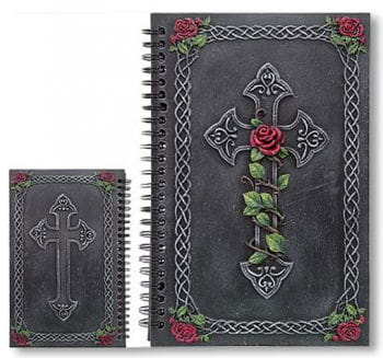 Notebook With Cross And Roses
