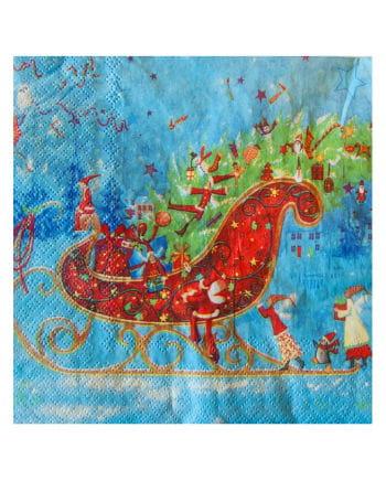 Servietten mit Weihnachtschlitten-Motiv