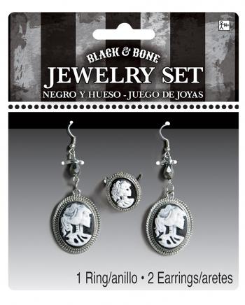 3-piece Skeleton Cameo Jewelry Set