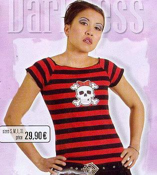 Black/Red Shirt Stripes, White Skull on Front Size S