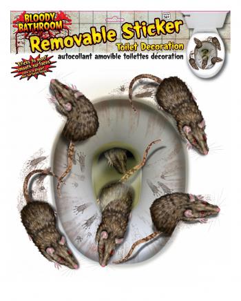 3D Toilettendeckel Sticker mit Blutigen Ratten