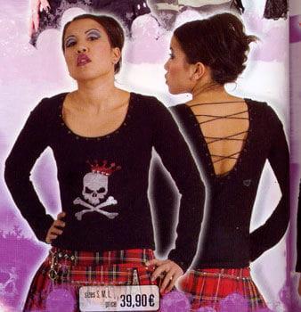 blk Shirt Skull Queen Glitter Print Gr. S