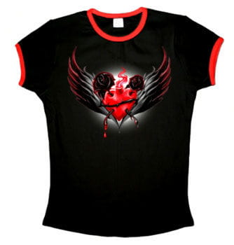 Sacred Heart Shirt with Red Cuffs Size S