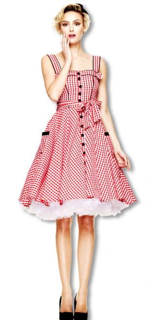 50er Jahre Sommerkleid rot-weiß kariert