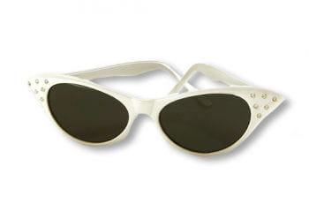50er Jahre Sonnenbrille weiß mit Strass