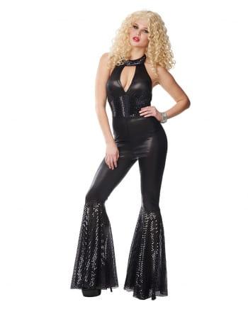 70s Disco Diva Jumpsuit Black