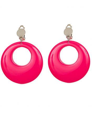 80s Earrings Neon Pink