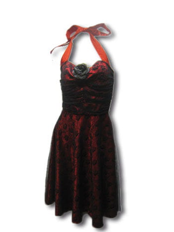 Rose Dress Lace Red / Black Gr. S