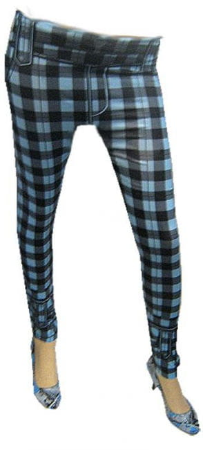 Blue and Black Chequered Leggings