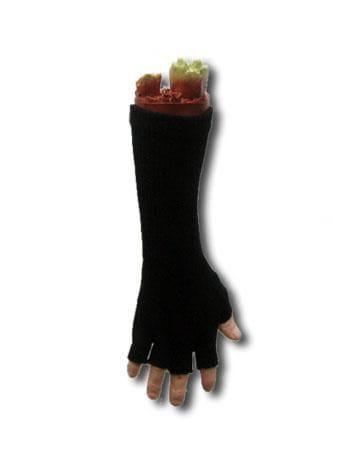 Lange fingerlose Handschuhe in schwarz