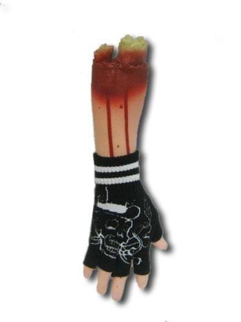 Fingerlose Handschuhe mit weißen Totenkopf Motiv