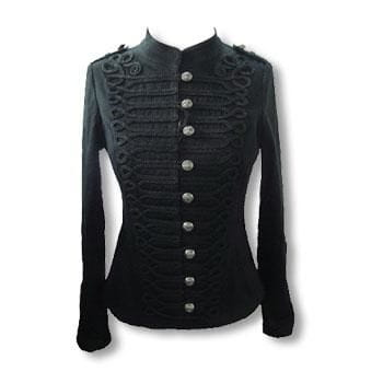 Black Gothic Jacket in Uniform Style XS