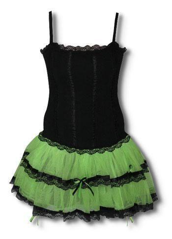 Mini Dress black and neon green XL