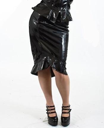 PVC Pencil Skirt Size M